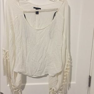 White flowy sleeve forever 21 top